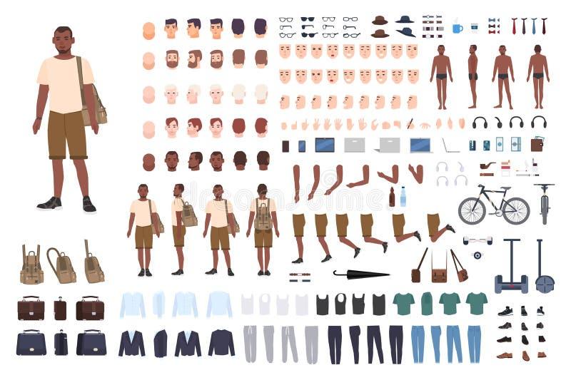 De jonge aannemer van het kerelkarakter Volwassen mannelijke verwezenlijkingsreeks Verschillende houdingen, kapsel, gezicht, bene vector illustratie