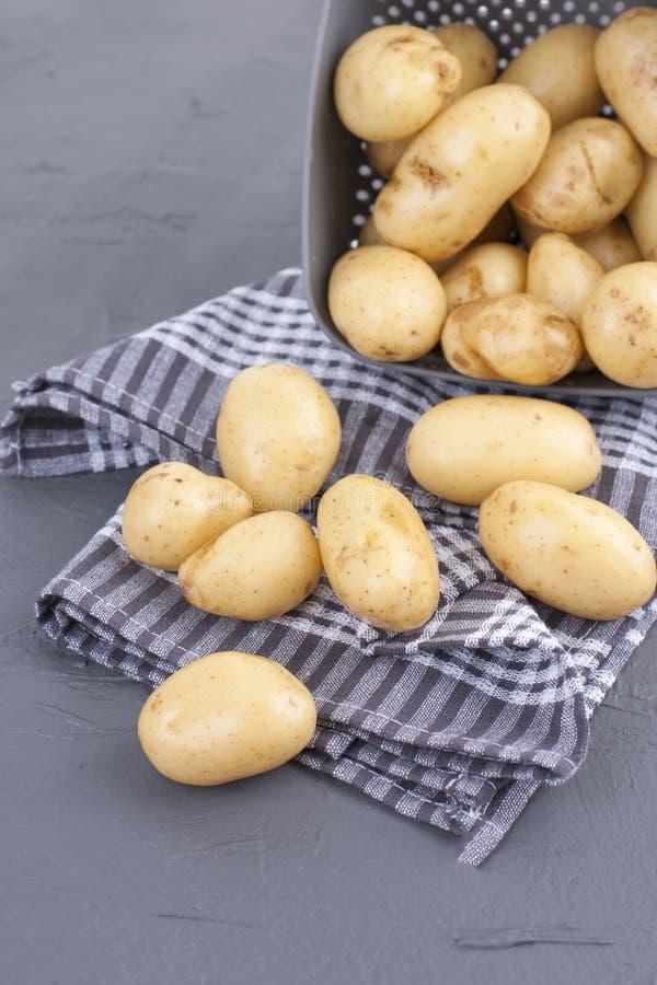 De jonge aardappels zijn schoon in een kop en op een handdoek De Groenten van de de zomeroogst en gezondheid, Exemplaarruimte royalty-vrije stock afbeeldingen