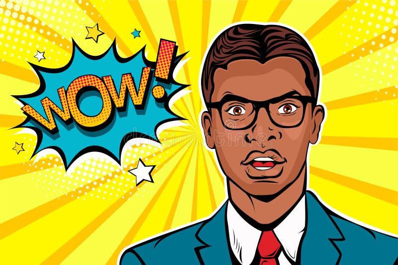 De jonge afro Amerikaanse verraste mens in glazen met open mond en wauw de toespraak borrelen vector illustratie