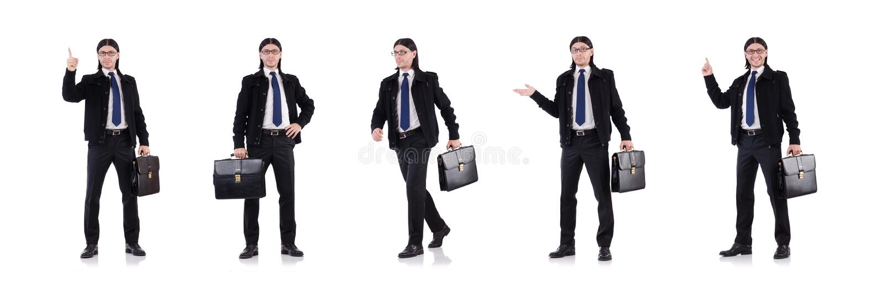 De jonge aktentas van de zakenmanholding op wit royalty-vrije stock afbeelding