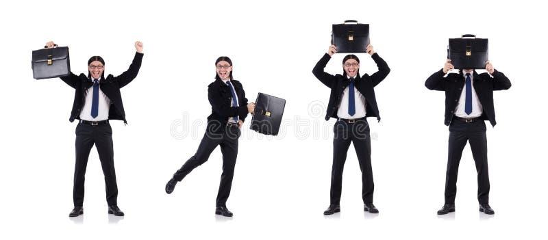 De jonge aktentas van de zakenmanholding op wit stock foto's