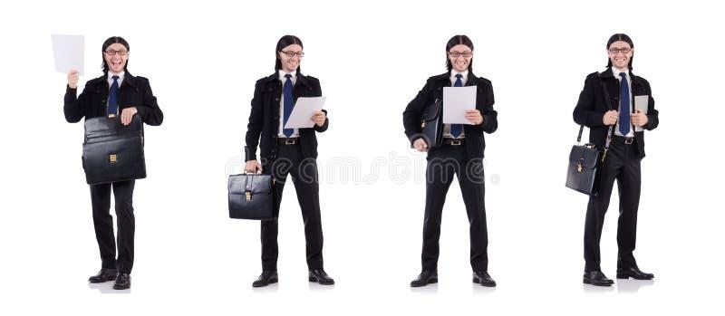 De jonge aktentas van de zakenmanholding op wit stock afbeelding