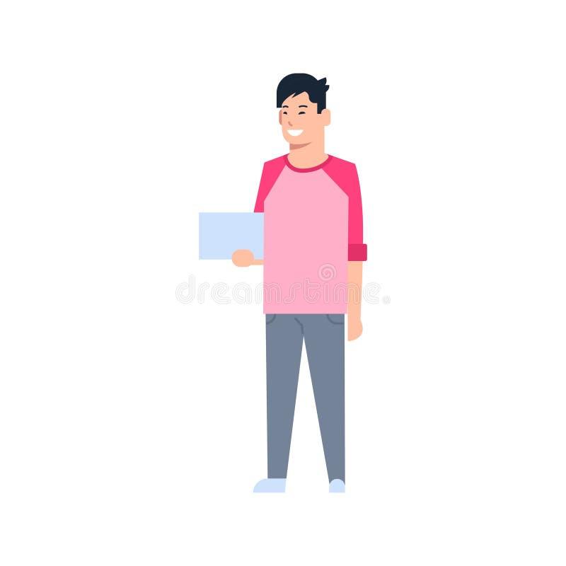 De jonge Aziatische Digitale Tablet die van de Mensen Chinese of Japanse Mannelijke Greep Vrijetijdskledings Volledige Lengte dra stock illustratie
