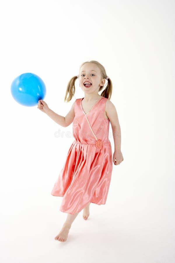 De jonge Ballon van de Partij van de Holding van het Meisje stock foto