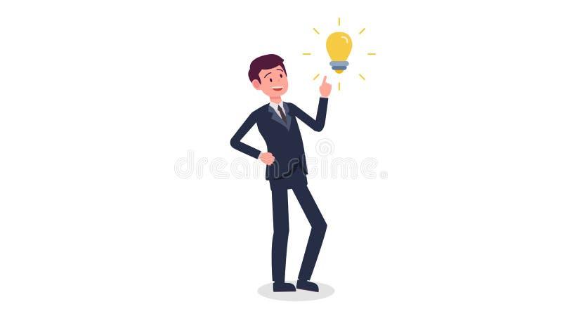 De jonge bedrijfsmens heeft een nieuwe vectorillustratie van het ideeconcept vector illustratie