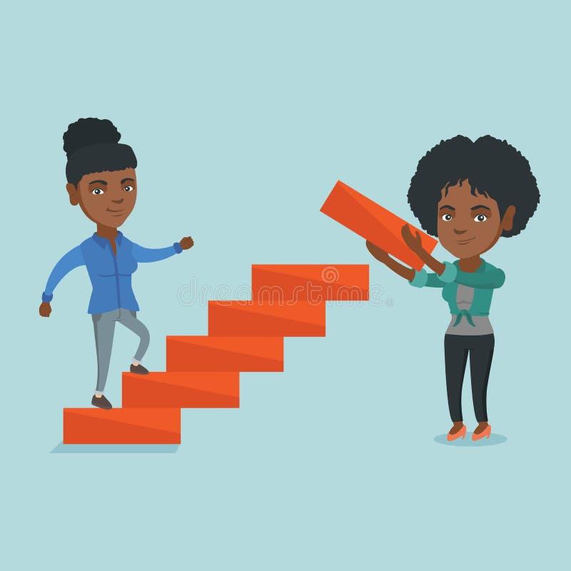 De jonge bedrijfsvrouw lanceert de carrièreladder vector illustratie