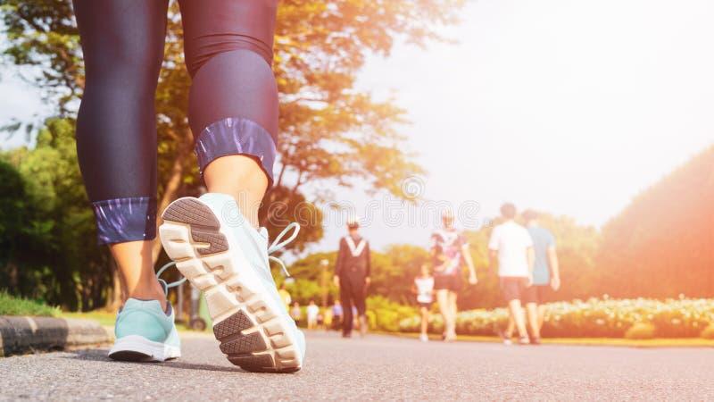 De jonge benen die van de geschiktheidsvrouw met groep mensen lopen oefenen het lopen in het stads openbare park in uit ochtend royalty-vrije stock afbeeldingen