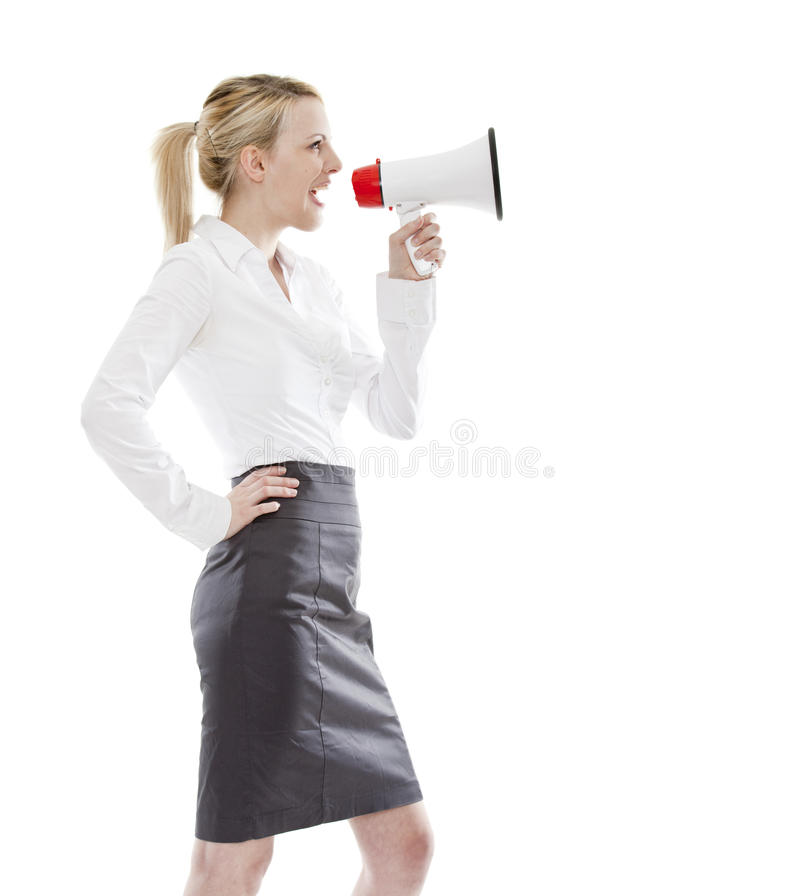 De jonge blonde megafoon van de bedrijfsvrouwenholding stock fotografie