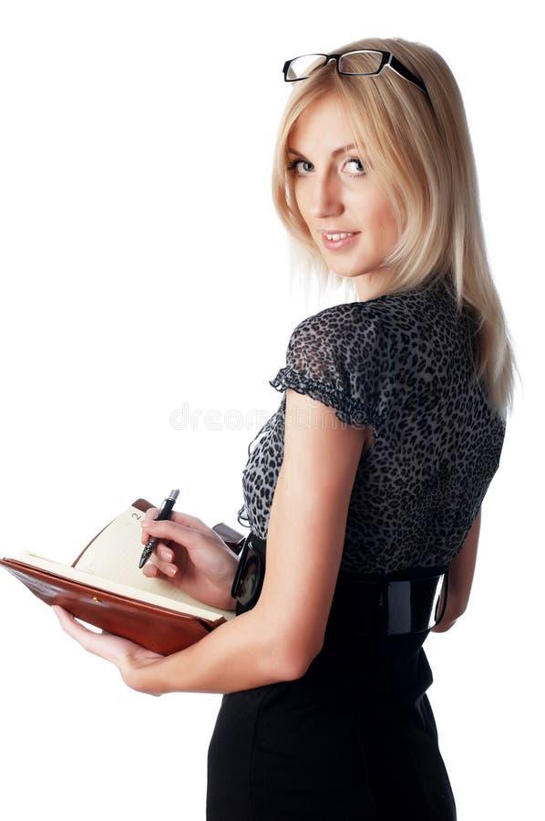 De jonge charmante bedrijfsvrouw royalty-vrije stock afbeeldingen