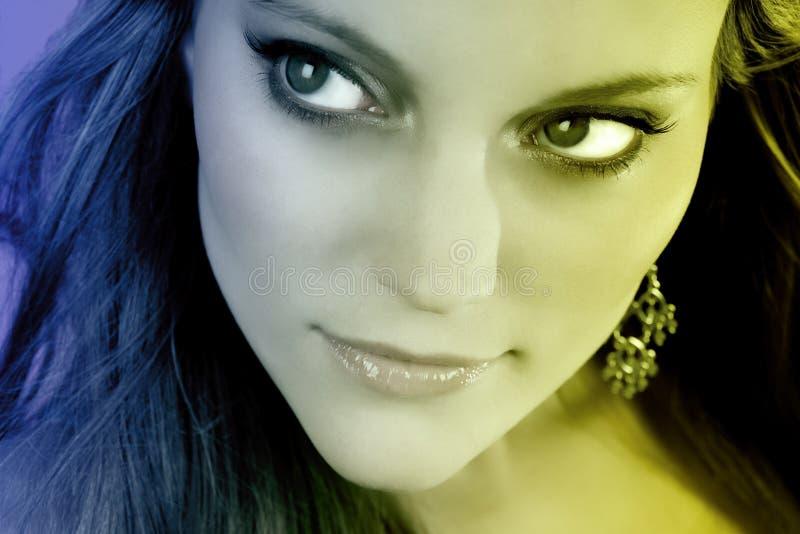 De jonge Close-up van het Gezicht van de Vrouw stock foto