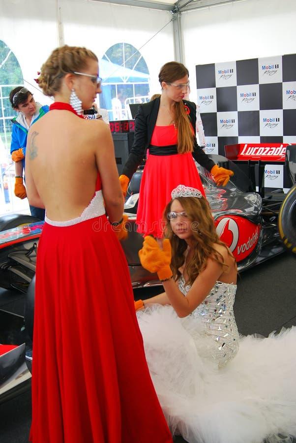 De jonge dames nemen aan de concurrentie deel stock afbeelding