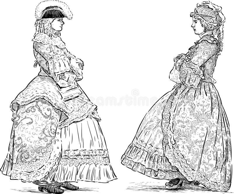 De jonge dames spreken royalty-vrije illustratie