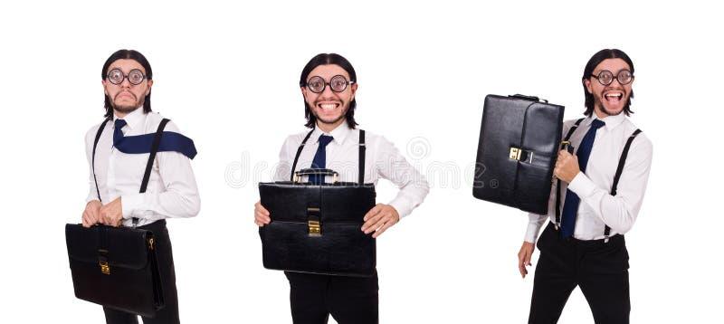 De jonge die aktentas van de zakenmanholding op wit wordt geïsoleerd stock foto's