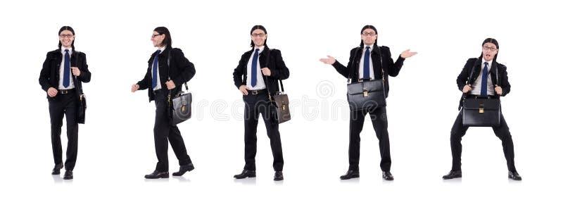 De jonge die aktentas van de zakenmanholding op wit wordt geïsoleerd royalty-vrije stock foto's