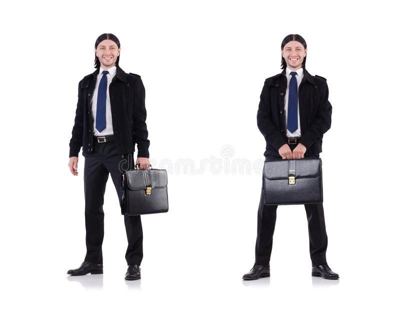 De jonge die aktentas van de zakenmanholding op wit wordt geïsoleerd stock afbeeldingen