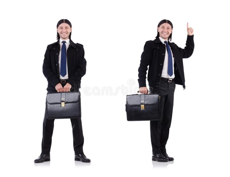 De jonge die aktentas van de zakenmanholding op wit wordt geïsoleerd stock foto