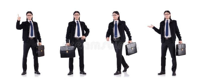 De jonge die aktentas van de zakenmanholding op wit wordt geïsoleerd royalty-vrije stock afbeelding