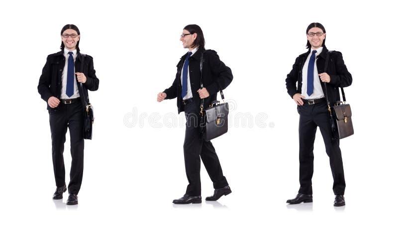 De jonge die aktentas van de zakenmanholding op wit wordt geïsoleerd royalty-vrije stock fotografie