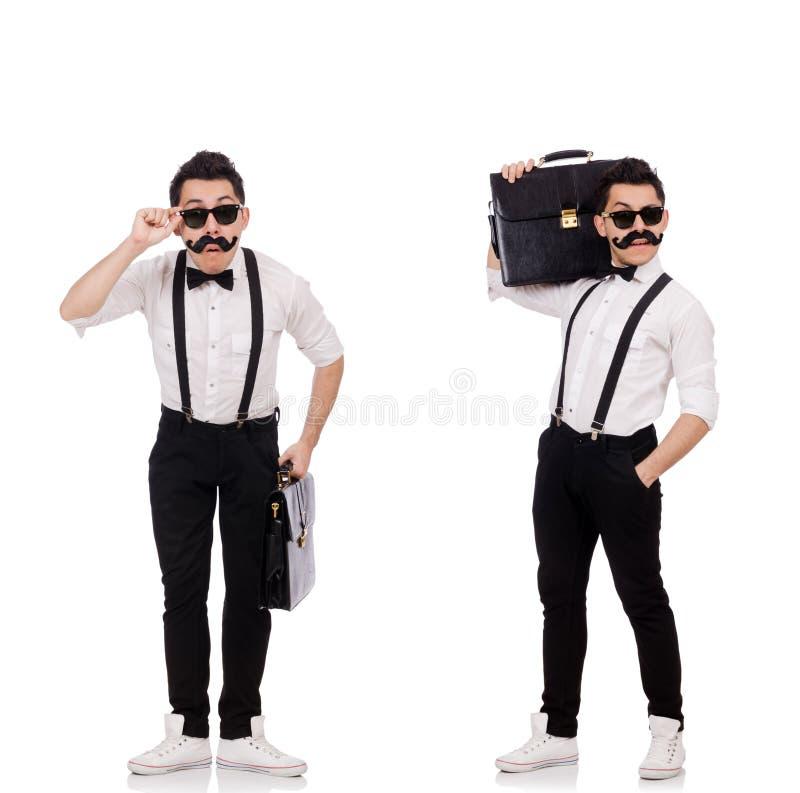 De jonge die man met aktentas op wit wordt geïsoleerd royalty-vrije stock foto