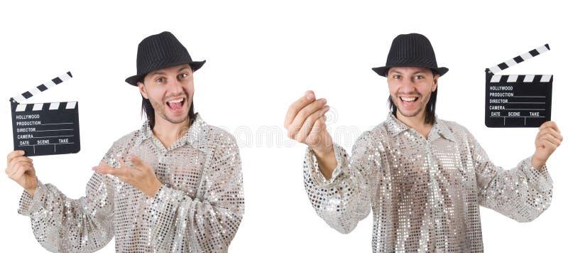 De jonge die man met klep-raad op wit wordt geïsoleerd stock foto's