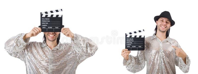 De jonge die man met klep-raad op wit wordt ge?soleerd royalty-vrije stock afbeelding