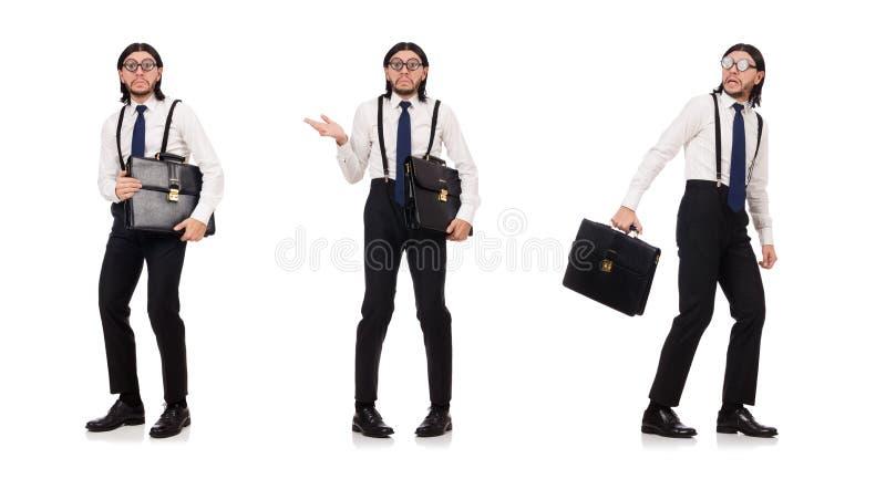 De jonge die manager met aktentas op wit wordt geïsoleerd stock afbeelding