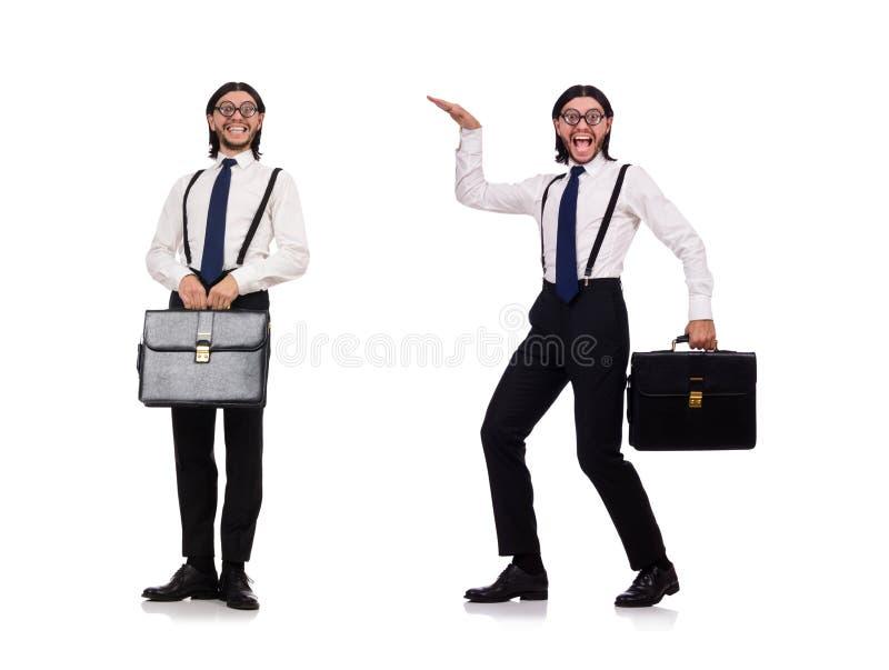 De jonge die manager met aktentas op wit wordt geïsoleerd royalty-vrije stock foto's