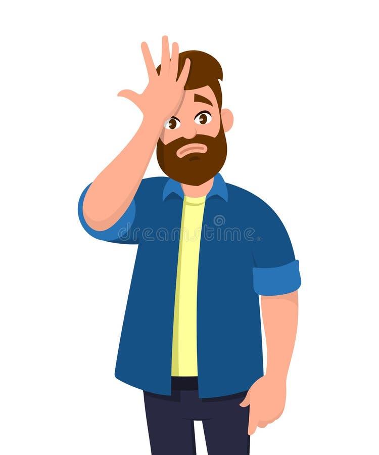 De jonge die mens met hand op hoofd voor fout wordt verrast, herinnert fout stock afbeelding