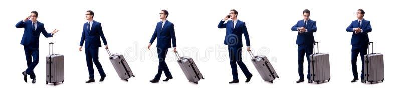De jonge die zakenman met koffer op witte achtergrond wordt geïsoleerd royalty-vrije stock afbeelding