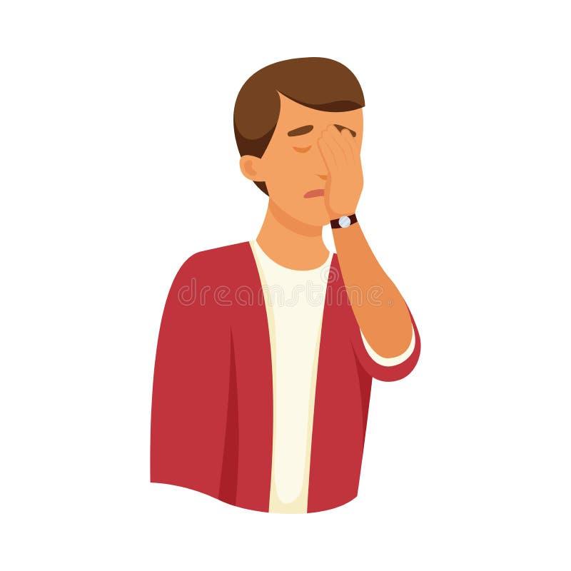 De jonge droevige jongen behandelt zijn gezicht met handpalm stock illustratie