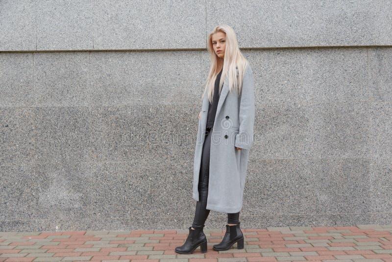 De jonge elegante vrouw die van de manierstijl in grijze bontjas bij stadsstraat lopen stock afbeelding