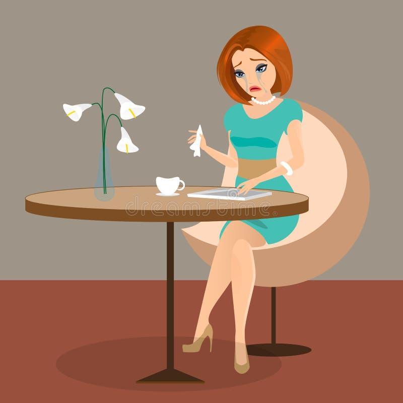 De jonge elegante vrouw schreeuwt in de koffie gebruikend een tabletpc royalty-vrije illustratie