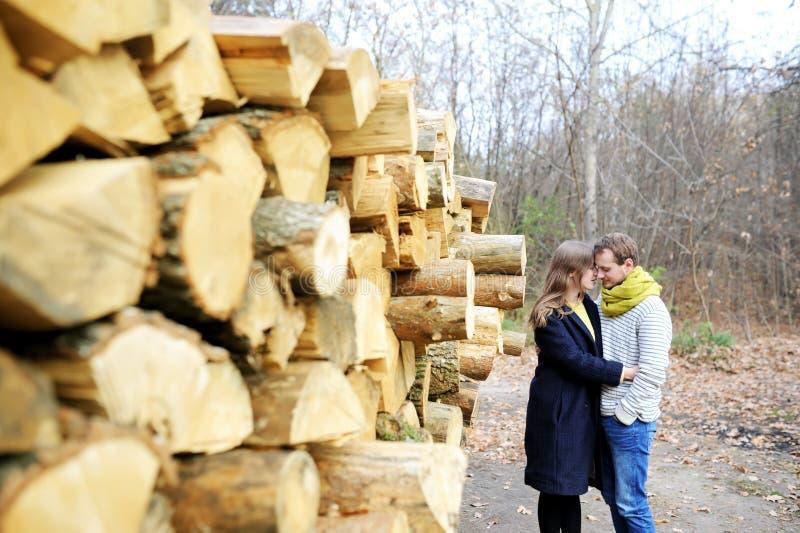 De jonge familie geniet in de herfst van royalty-vrije stock foto