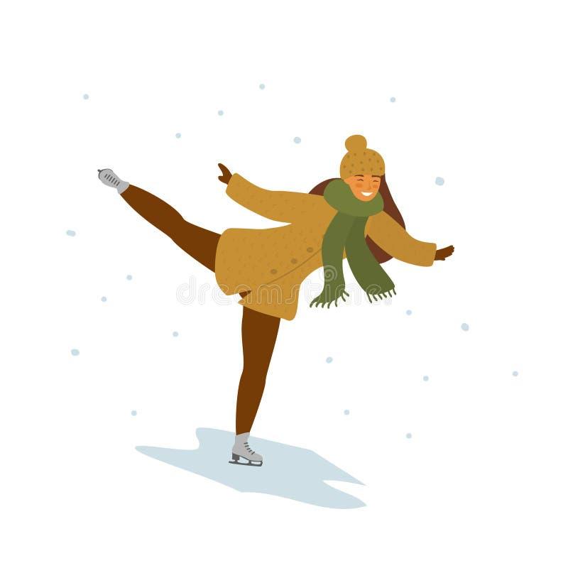 De jonge geïsoleerde vectorillustratie van het vrouwenijs het schaatsen stock illustratie
