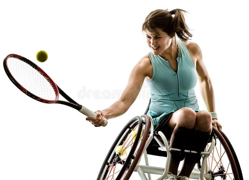 De jonge gehandicapte de vrouwen welchair sport van de tennisspeler isoleerde silhouet stock afbeeldingen