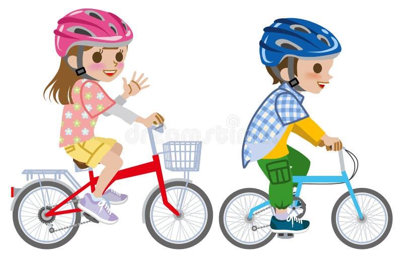 De jonge geitjes die fiets berijden, droegen Geïsoleerde Helm, vector illustratie