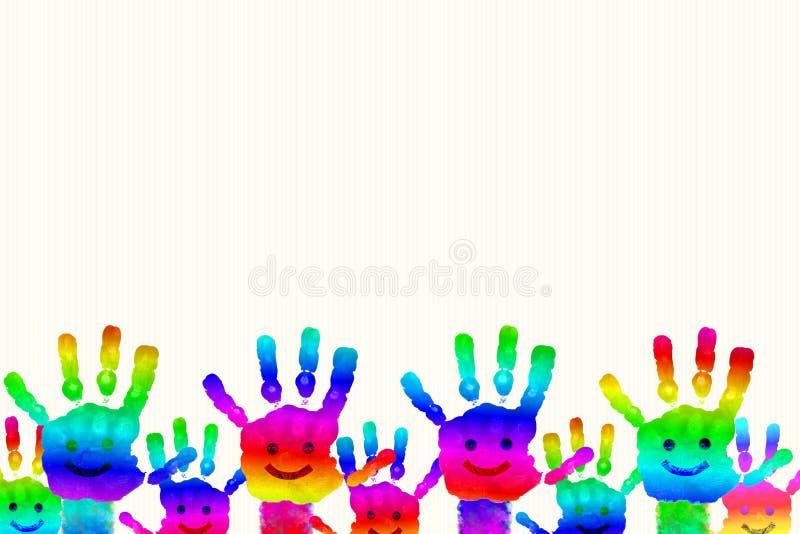 De jonge geitjes Geschilderde drukken van de de regenbooghand van de Handkunst kleurrijke vector illustratie