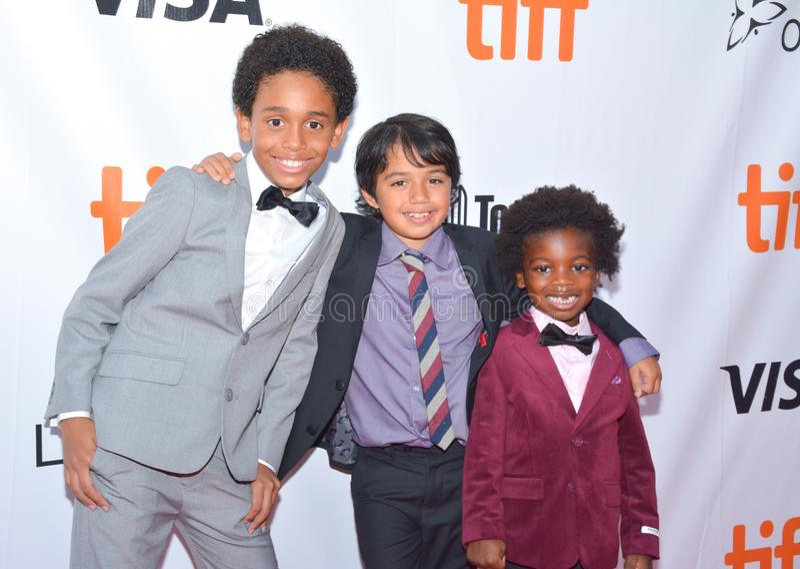 De jonge geitjes gieten bij ` Koningen` première bij internationaal de filmfestival van Toronto in Toronto TIFF17 royalty-vrije stock afbeelding