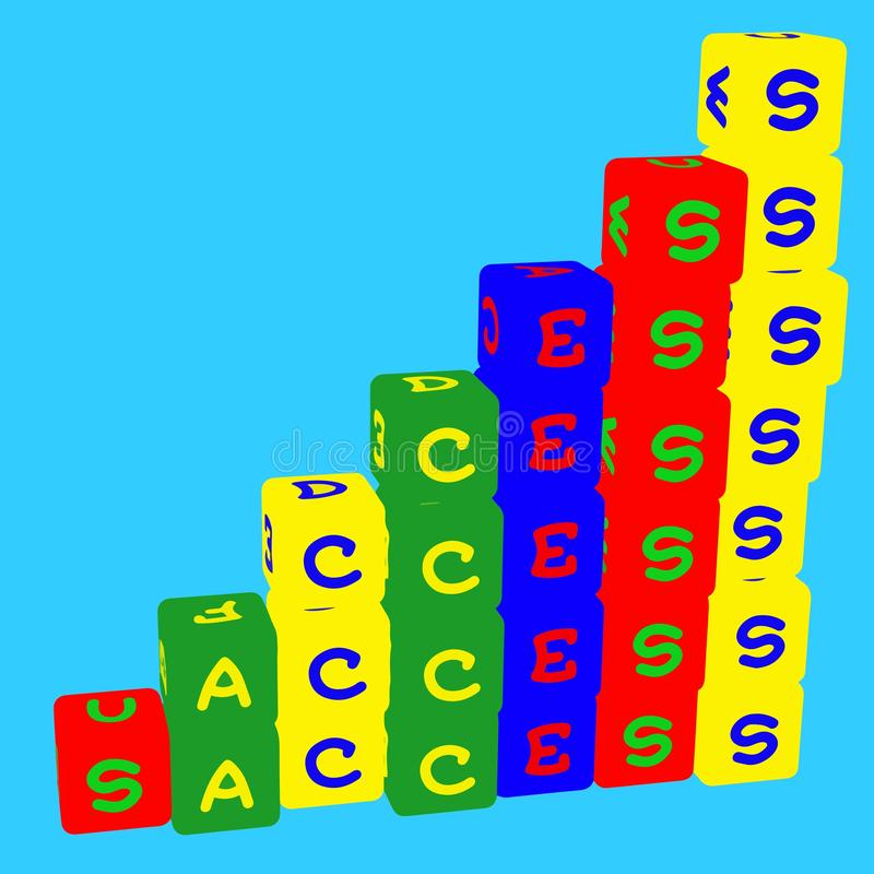 De jonge geitjes kleuren kubussen met brieven Succes Voor zaken en het leven Vector stock illustratie
