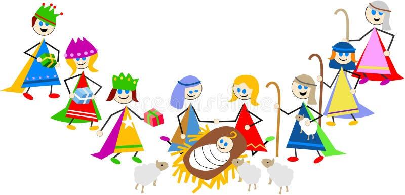 De jonge geitjes van de geboorte van Christus stock illustratie