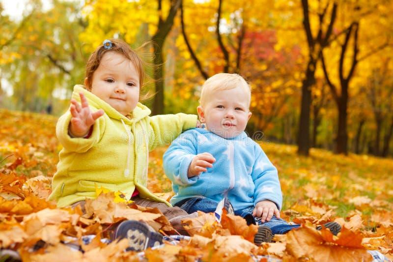 De jonge geitjes van de herfst royalty-vrije stock afbeelding