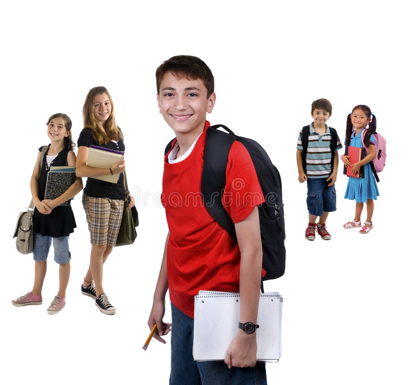 De Jonge geitjes van de school stock afbeeldingen