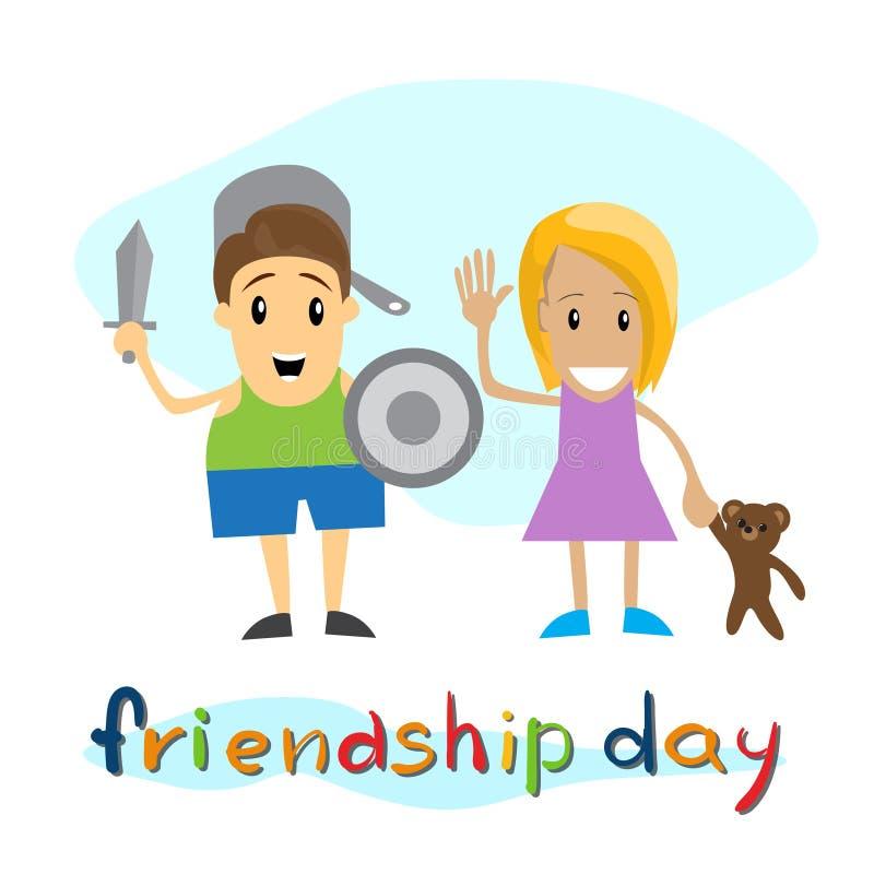 De Jonge geitjes van de vriendschapsdag met de Vakantiebanner van de Speelgoedvriend royalty-vrije illustratie