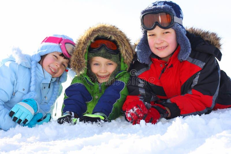 De jonge geitjes van de winter royalty-vrije stock foto