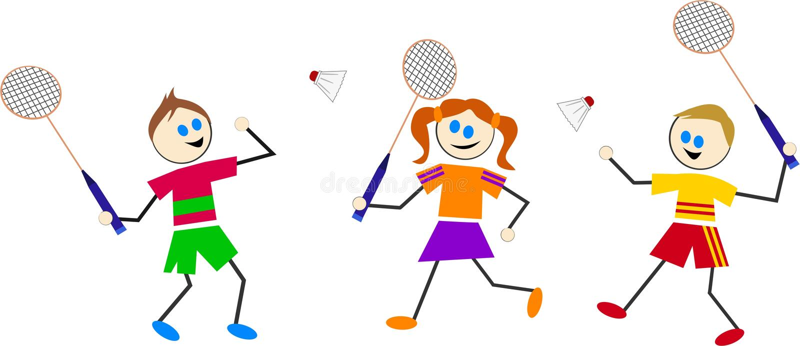 De jonge geitjes van het badminton vector illustratie