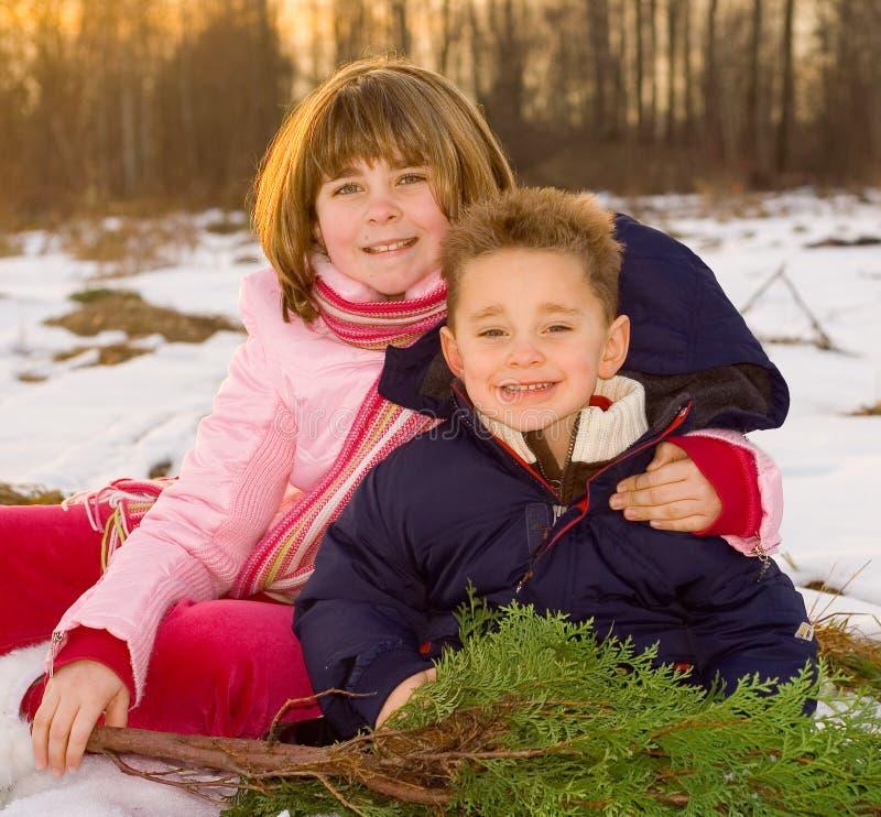 De jonge geitjes van Kerstmis royalty-vrije stock foto's