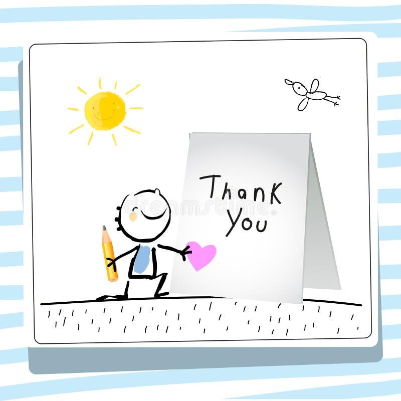 De jonge geitjesdank dankt u kaardt vector illustratie