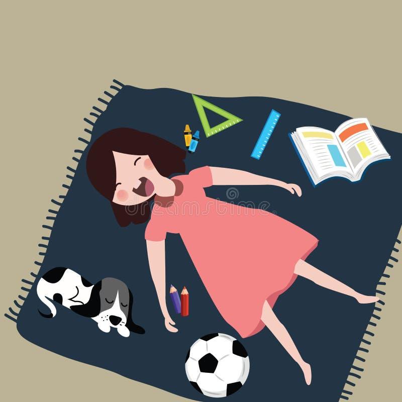 De jonge geitjesmeisjes glimlachen het lachen terwijl het slapen van met haar kat na studie rond het het boek van de penbal en vector illustratie