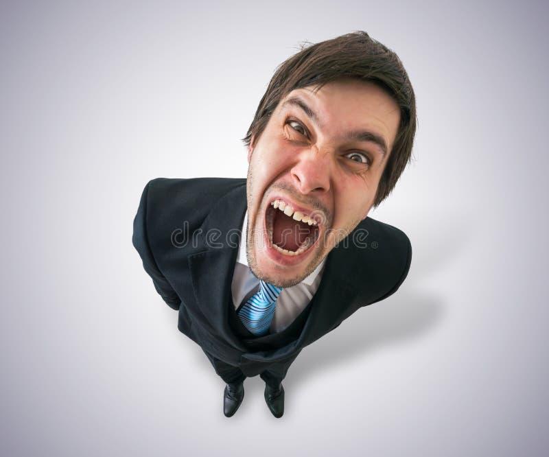 De jonge gekke zakenman of de werkgever gillen Mening vanaf bovenkant royalty-vrije stock foto