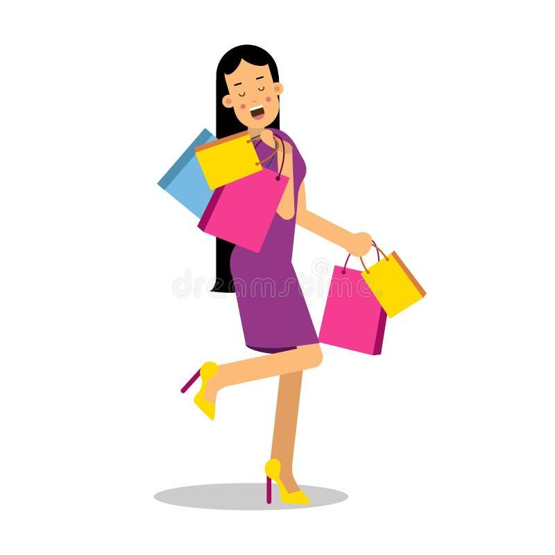 De jonge gelukkige glimlachende donkerbruine vrouw in purpere kleding die zich met het winkelen bevinden doet de vectorillustrati stock illustratie